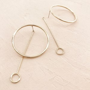 Large Metal Ring Rod & Ring Drop Earring