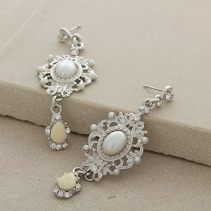 Ornate Filigree Diamante & Pearl Mid Drop Earring