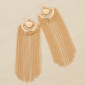 Semi Circle Mix Long Chain Fringe Earring