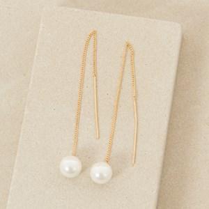 Pearl Long Chain Drop Thread Through Earring
