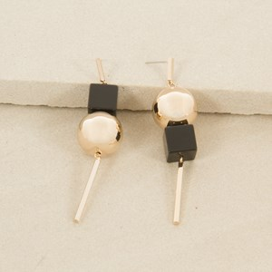 Black Cube and Metal Ball Rod Drop Earring