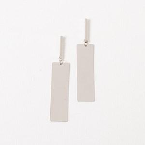 Brushed Rectangle Metal Drop Earring