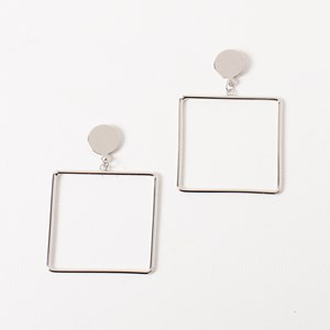 Large Square with Disc Earring