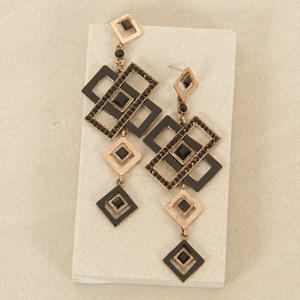 10cm Art Deco Square and Diamond Drop Earrings