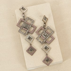10cm Art Deco Square and Diamond Drop Earrings