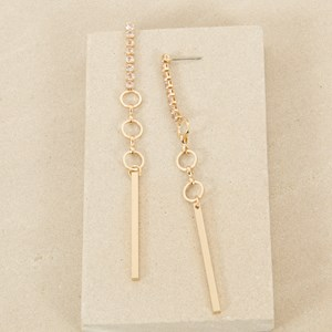 10cm Diamante Small Rings and Rod Earring