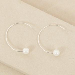 4cm Pearl Hoop Earring