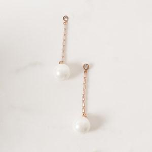 5cm Baguette Drop Pearl Earrings