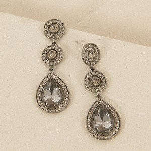 6.5cm Glamour Double Circle and Teardrop Earrings