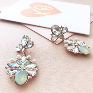 6cm AB Opal and Pearl Statement Earring