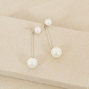 6cm Simple Double Pearl Drop Earring