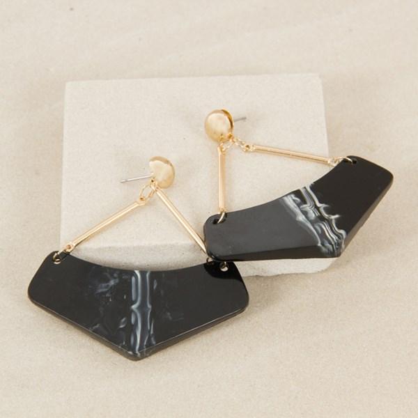 Marble Look Resin Triangle Earrings