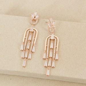 7cm Fine Deco Multi Drop Baguette Earrings