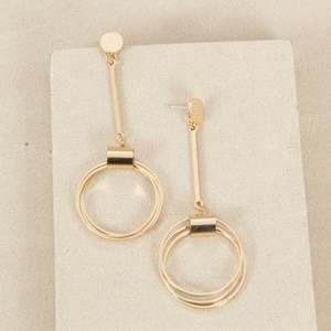 9cm Button and Rings Drop Earring