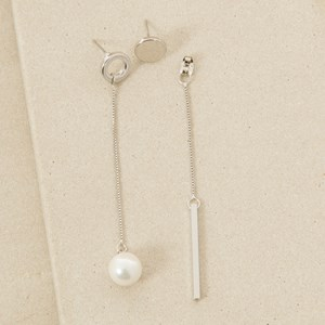Pair Unmatched Pearl and Rod Earrings