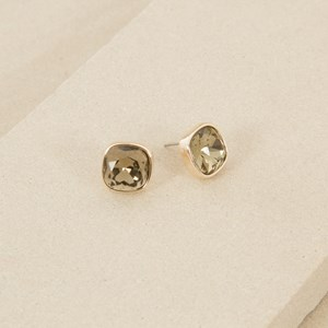 Rounded Square Jewel Stud Earring