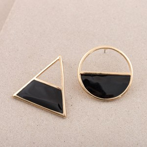 Triangle and Circle Enamel Stud Earring