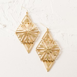 Diamond Laser Cut Hook Earring