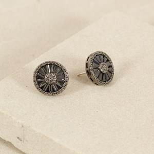 Baguette Wheel Disc Earrings