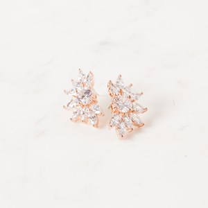 Half Daisy Diamante Stud Earrings