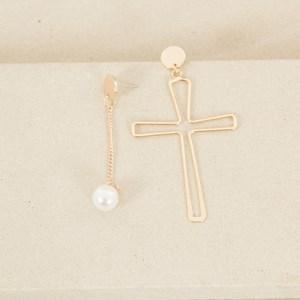 Mismatched Cross & Pearl Drop Earrings