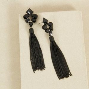 Jewelled Top Tassel Drop Earrings