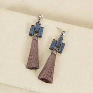 Jewel and Cotton Tassel Earrings