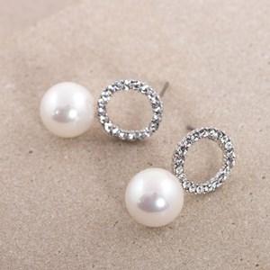 Pearl Drop Circle Diamante Earrings