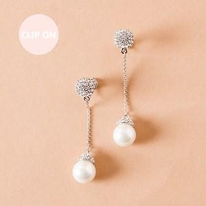 Diamante Chain & Pearl Drop Clip On Earrings