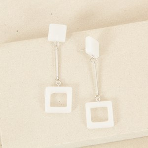 Square Rod Drop Stud Earrings