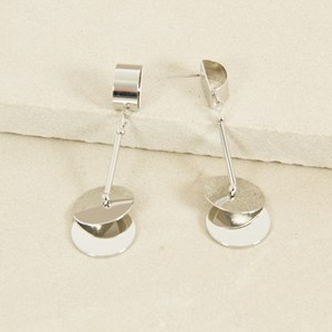 Discs and Rod Curved Top Stud Earrings