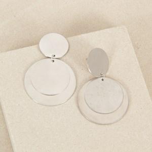 Brushed Layered Circle Discs Stud Earrings