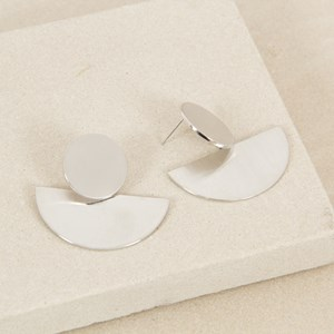 Brushed Circle & Crescent Stud Earrings