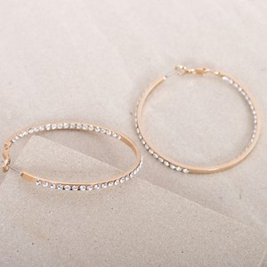 Diamante Medium Hoop Earrings