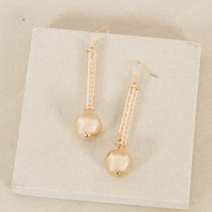 Sparkle Column Ball Drop Earrings