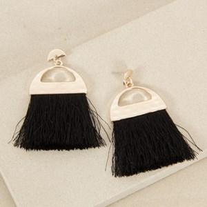 Crescent Fringe Stud Earrings