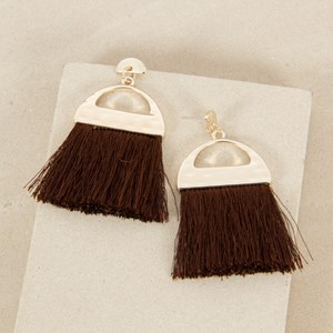 Crescent Fringe Stud Earrings