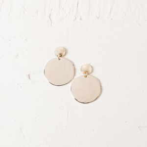 Beaten Metal Discs Stud Earrings