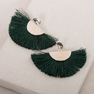 Metal Crescents Cotton Fringe Earrings