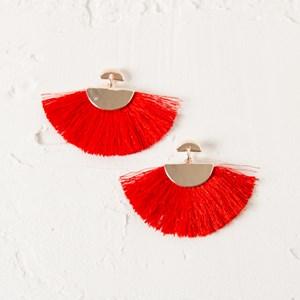 Metal Crescents Cotton Fringe Earrings