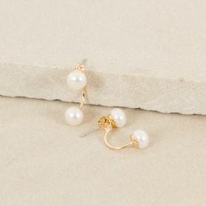 Double Pearl Stud Back Earrings