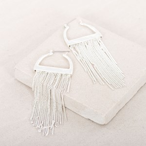Clip Down Arched Fine Fringe Earrings