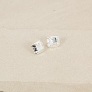 Beaten Facet Square Earrings