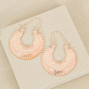 Clip Down Indian Patterned Crescent Earrings