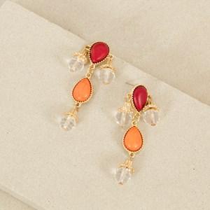 Stone & Facet Glass Teardrop Earrings