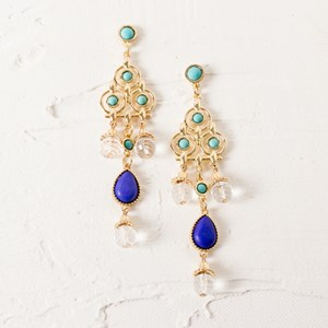 Stone & Facet Glass Long Drop Earrings