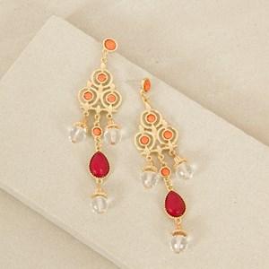 Stone & Facet Glass Long Drop Earrings