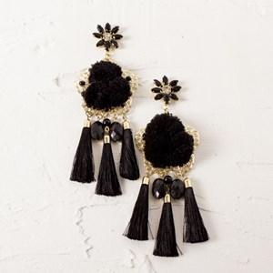 Jewel and Pom Pom Tassel Drops Earrings