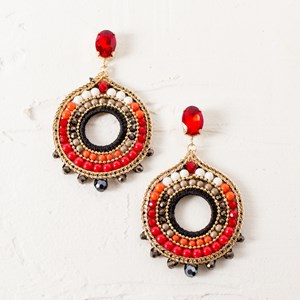 Beaded Circle Jewel Drops Earrings