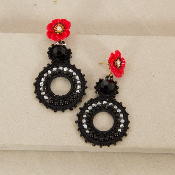 Resin Flower & Crystal Circle Drop Earrings